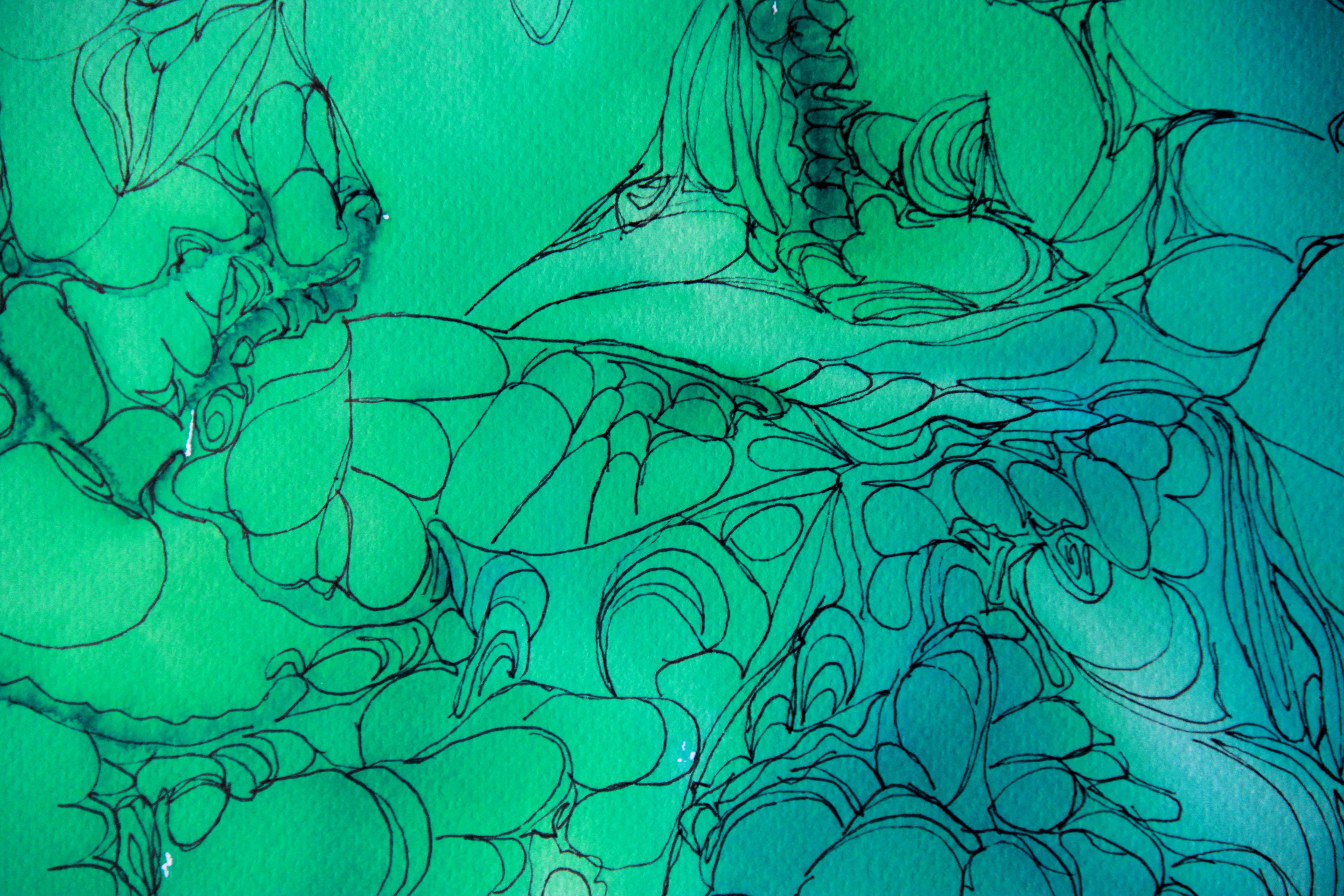 Cosmos 2 détail - Peinture - Isabelle Milléquant Surr