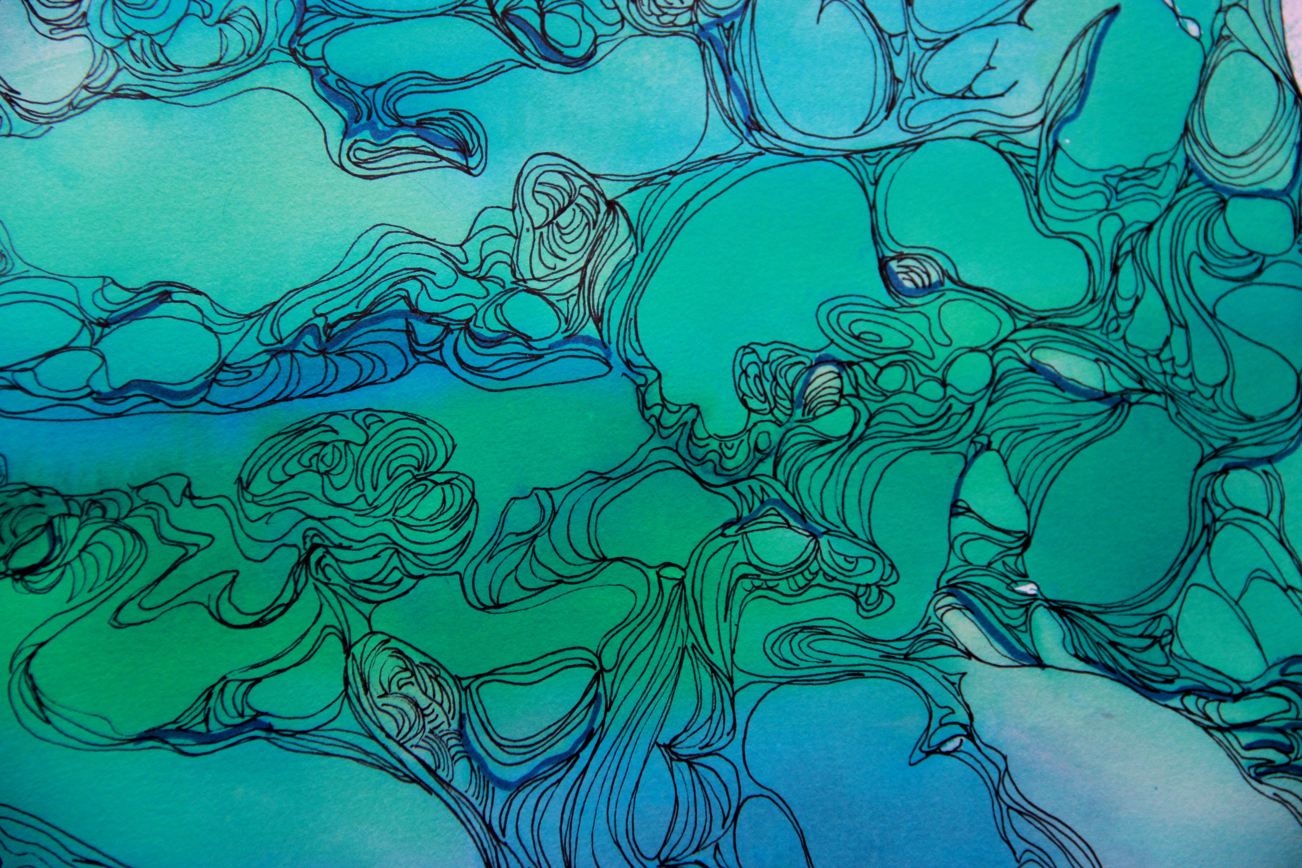 Molécules détail - Peinture - Isabelle Milléquant Surr