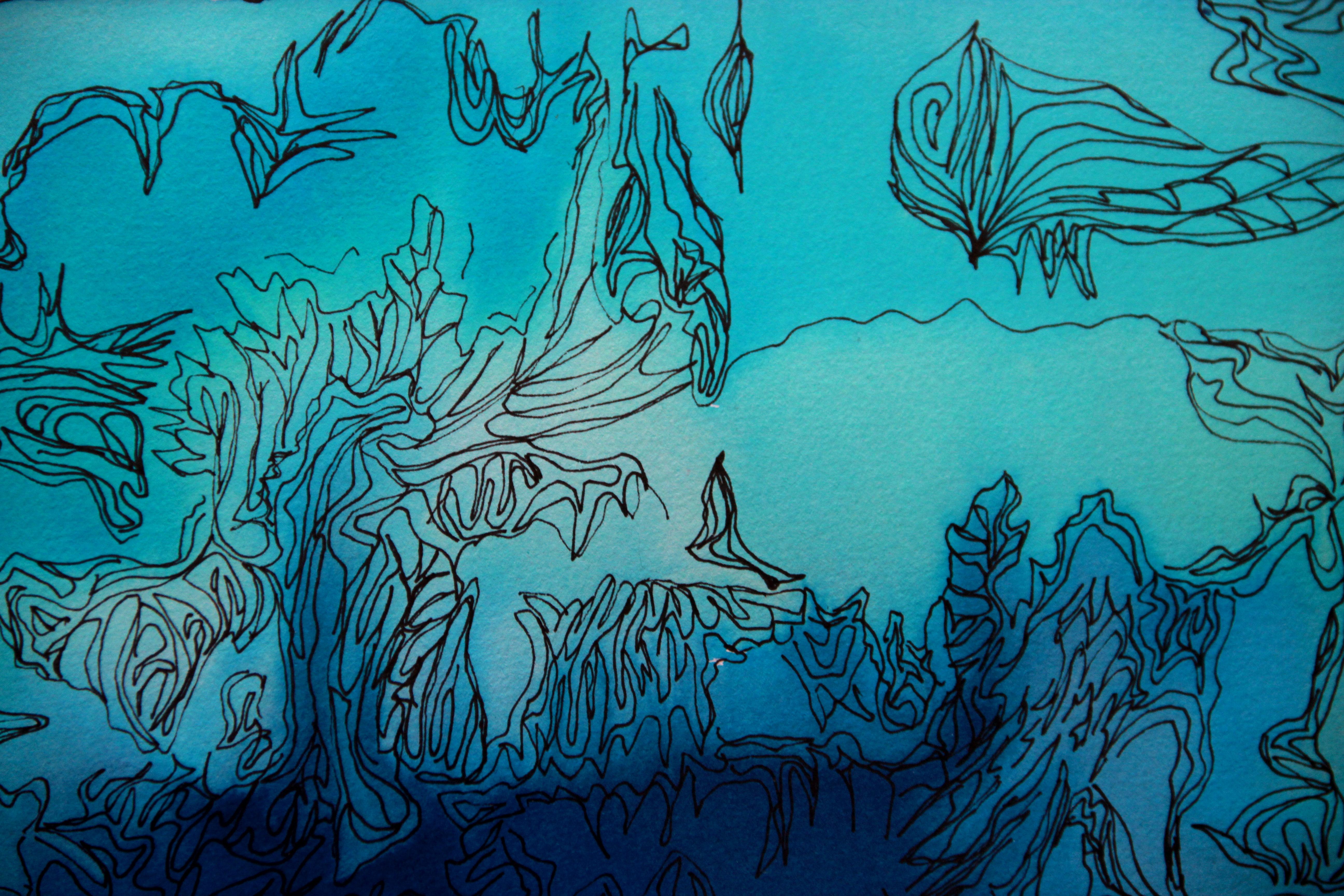 Paysages d'ailleurs détail 2 - Peinture - Isabelle Milléquant Surr