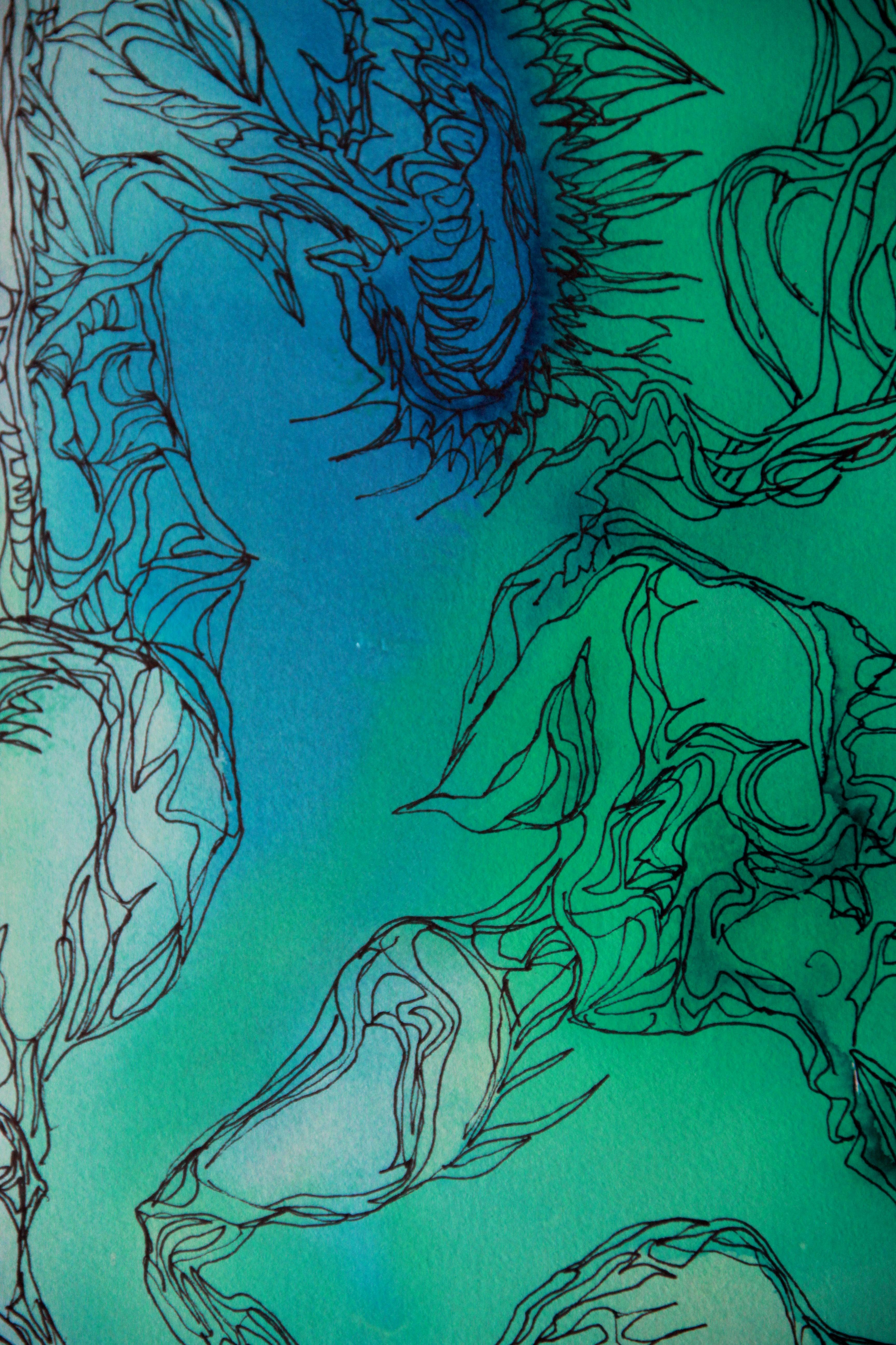 Traces détail - Peinture - Isabelle Milléquant Surr