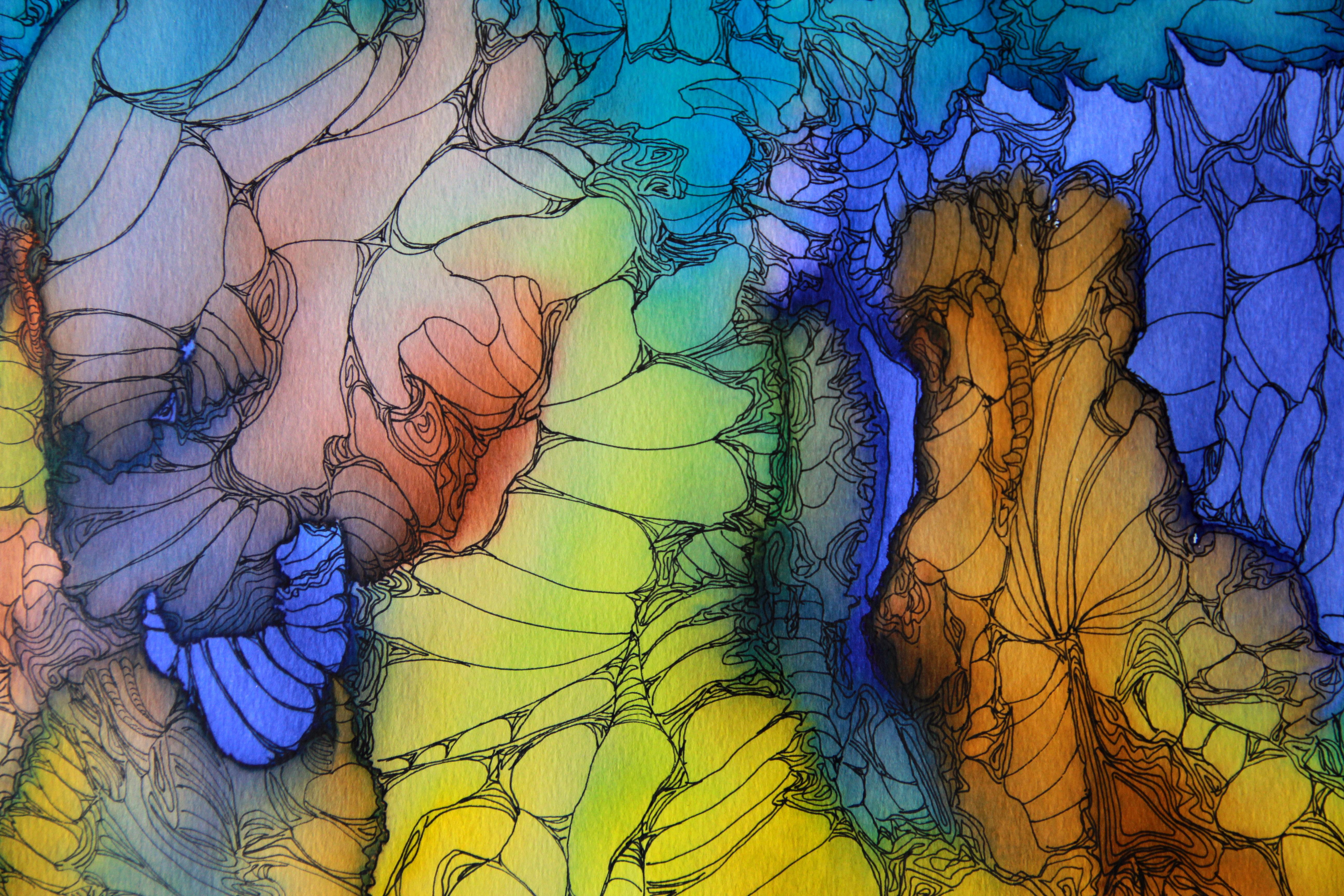 Voyage cosmique détail - Peinture - Isabelle Milléquant Surr