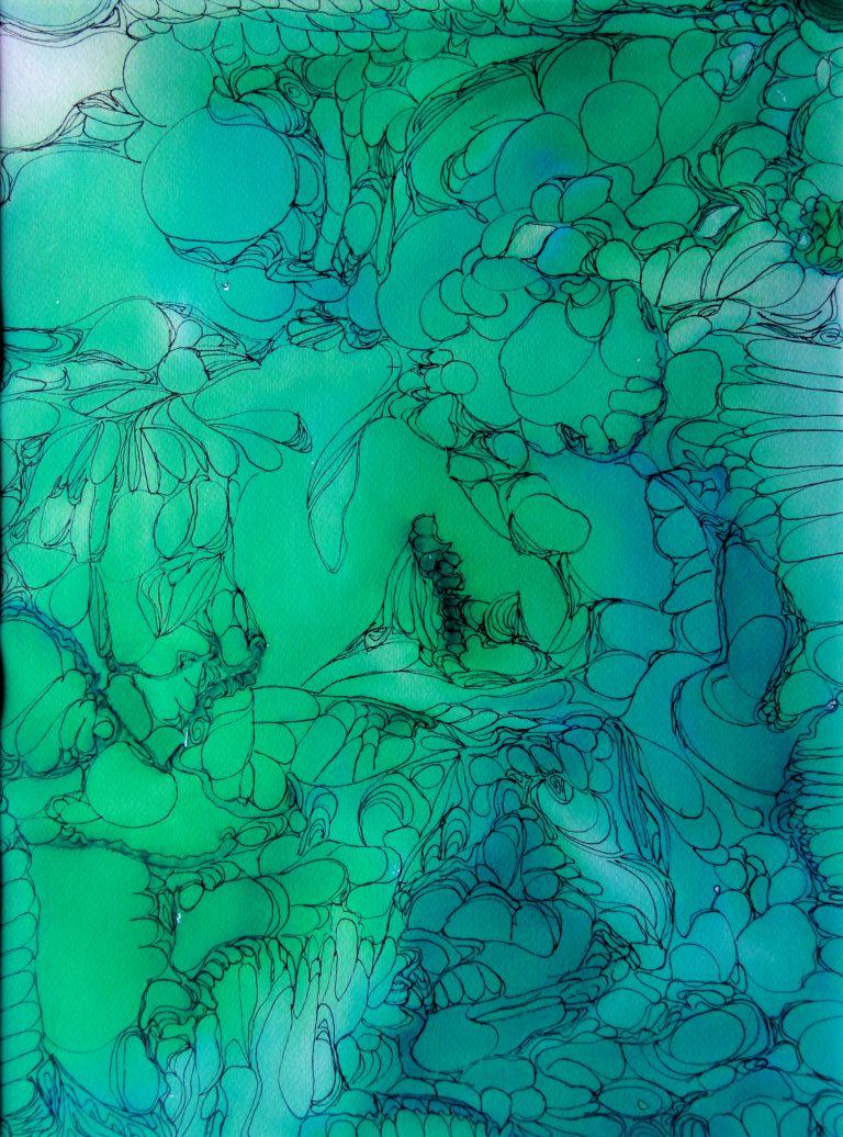 Cosmos 2 - Peinture - Isabelle Milléquant Surr