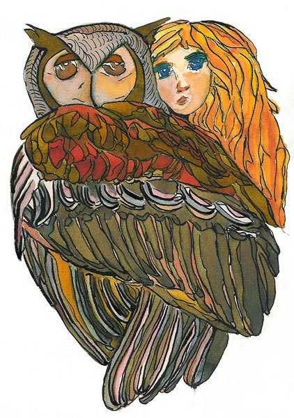 Perchée dans un arbre - Illustration - Isabelle Milléquant Surr